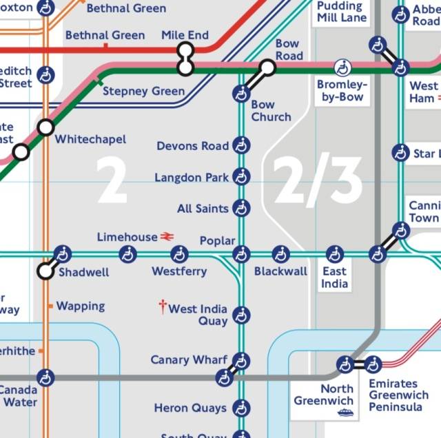 Tube Map, centred Devons Road and Langdon Park DLR stations